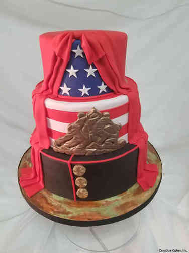 Military 24 Elegant Marine Corps Iwo Jima and Flag Military Promotion Cake