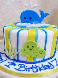 Neutral 03 Ocean Creatures First Birthday Cake