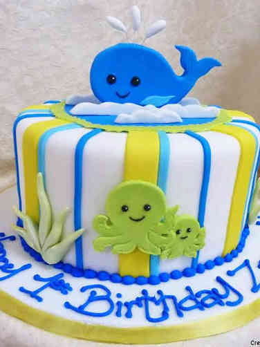 Neutral 03 Ocean Creatures First Birthday Cake