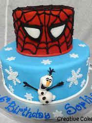 Superheroes 24 Spiderman and Olaf Birthday Cake