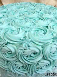 Floral 10 Blue Rosettes Wedding Shoer Cake