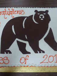High School 25 Bear Mascot High School Graduation Cake