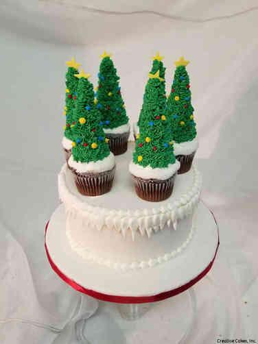 Winter 23 Cupcake Christmas Trees Holiday Celebration Cake