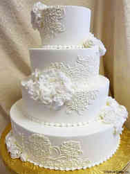 Elegant 02 Ruffles and Lace Wedding Cake
