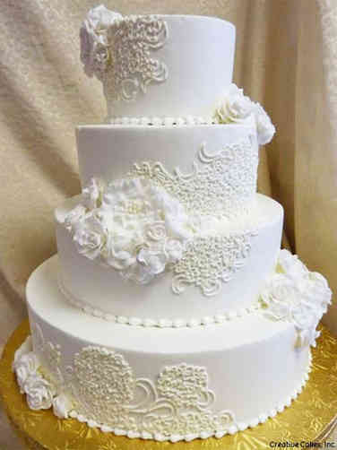 Elegant 02 Ruffles and Lace Wedding Cake