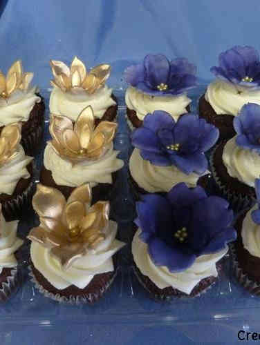 Other 19 Gold and Purple Handmade Flowers Celebration Cupcakes