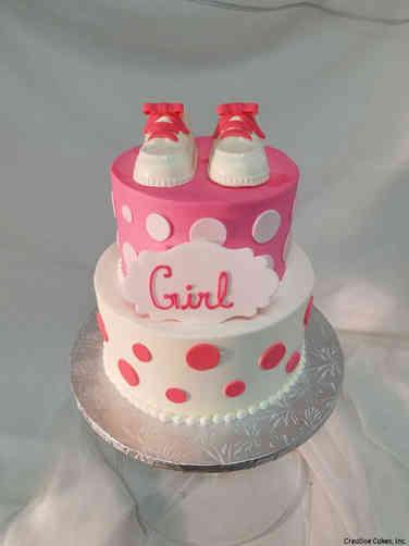 Girls 28 Bright Pink Booties Baby Shower Cake