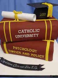 College 29 Catholic University Stack of Books College Graduation Cake