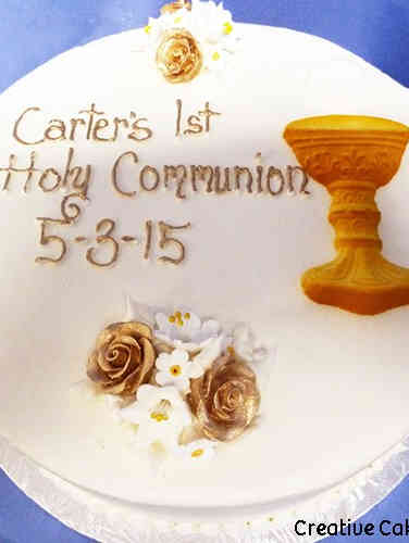 Communion 01 Gold and White First Communion Cake
