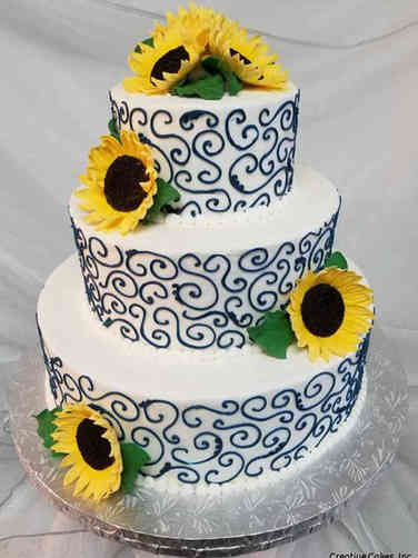 Floral 14 Sunflowers and Swirls Wedding Cake