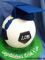 High School 11 3D Soccer Ball High School Graduation Cake
