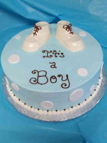 Boys 12 Booties and Polka Dots Baby Shower Cake