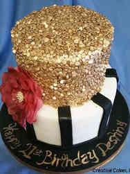 Feminine 05 Modern Stripes and Sequins Birthday Cake
