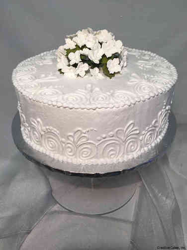 Floral 36 White Piping Simple Wedding Cake