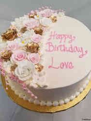 Floral 16 Pink and Gold Roses Birthday Cake