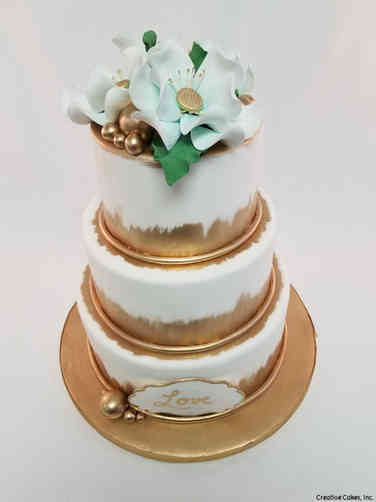 Floral 52 Gold Magnolia Love Wedding Cake