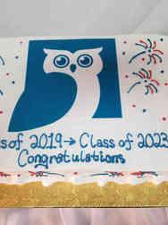 High School 34 Owl School Logo Celebration Cake