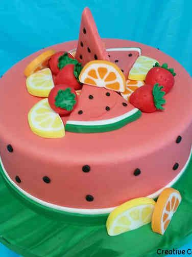 Unique 10 Watermelon and Summer Fruit Birthday Cake