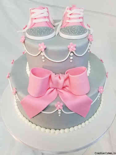 Girls 07 Grey and Pink Baby Shoes Baby Shower Cake