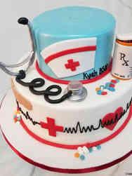 College 07 Tiered Nursing School College Graduation Cake