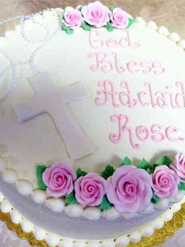 Baptism 11 Pink Roses and Roasary Baptism Cake