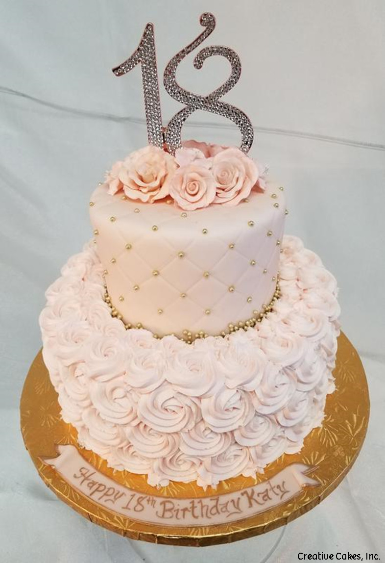 Numbers 13 Pink Rosettes 18th Birthday Cake
