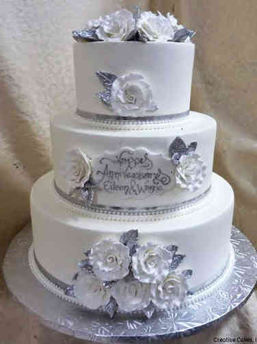 Anniversary 08 Simply Roses 25th Silver Anniversary Cake