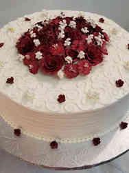 Simple 14 Swirls and Roses Wedding Cake