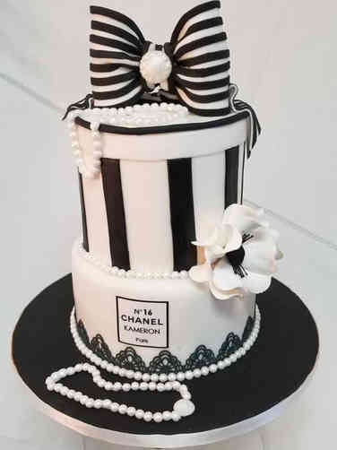 Fashion 25 Black and White Chanel Birthday Cake