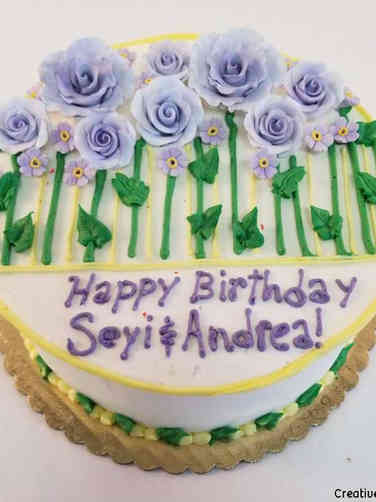 Floral 44 Purple, Green, and Yellow Field Birthday Cake