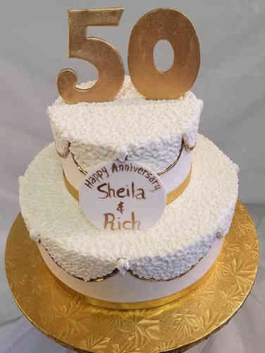 Anniversary 12 Piped Swags 50th Anniversary Cake