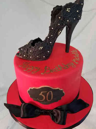 Fashion 77 Floral Lace Heel Birthday Cake