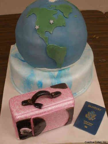 Hobbies 45 Travelling the Globe Birthday Cake