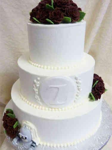 Elegant 23 Mongrammed Hidden Bender Cake