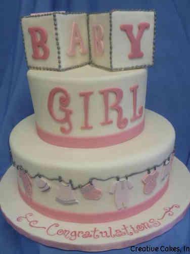 Girls 21 Blocks and Clothesline Baby Shower Cake