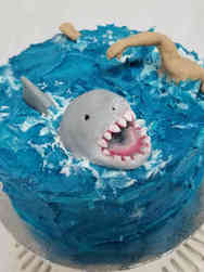 Other 02 Michael Phelps Racing a Shark Celebration Cake