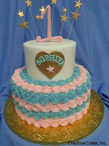 Girls 23 Pink and Blue First Birthday Cake