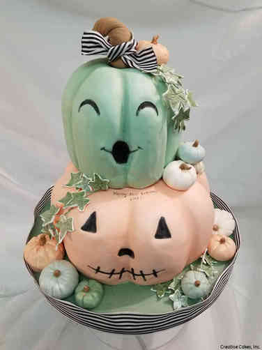 Neutral 30 Pastel Pumpkins First Birthday Cake
