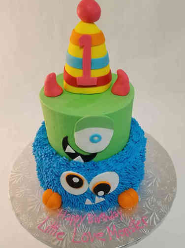 Neutral 34 Little Love Monster First Birthday Cake