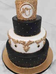 Trendy 01 Modern Monogram Wedding Cake
