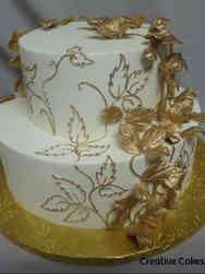 Trendy 11 Gold Leaves Wedding Cake