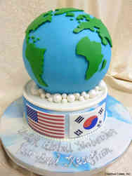 Corporate 13 3D Globe Celebration Cake