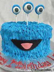 Unique 39 Big Blue Monster Birthday Cake
