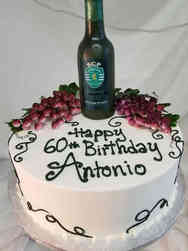 Food 34 Wine Bottle and Grapes Birthday Cake