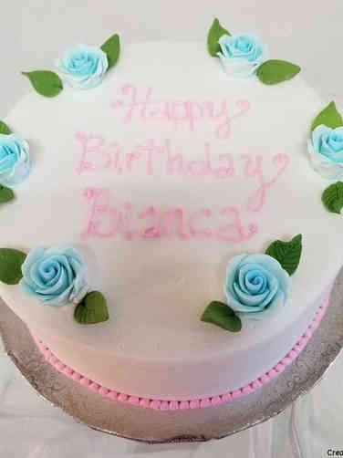 Floral 13 Blue Rose Circle Birthday Cake