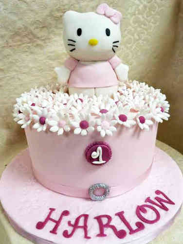 Girls 17 Hello Kitty First Birthday Cake