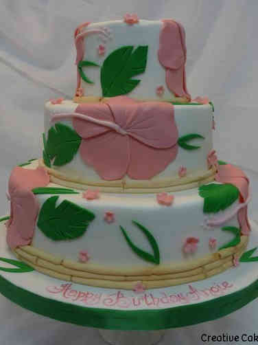 Floral 36 Tiered Tropical Hibiscus Birthday Cake