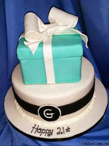 Feminine 25 Stacked Tiffany Gift Boxes Birthday Cake