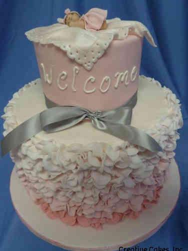 Girls 23 Ruffles and Sleepy Baby Baby Shower Cake