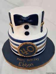 Fashion 20 Blue and Gold Tuxedo Birthday Cake